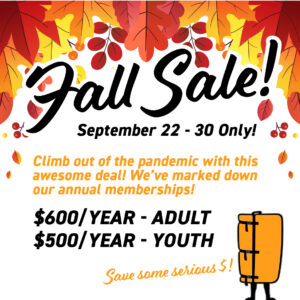 Fall sale - 9/22 to 9/30 2021, save big on annual memberships for one week only